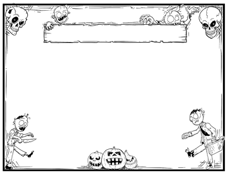 Hand drawing cartoon Halloween frame with cute zombie,skull and pumpkin illustrations.
