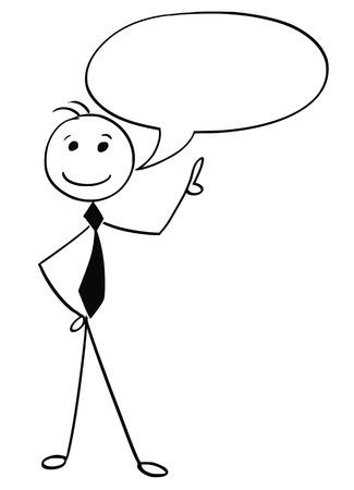 Karikaturillustration des lächelnden männlichen Kopfes des Mannes mit leerem Textspracheblasenballon. Vektorgrafik