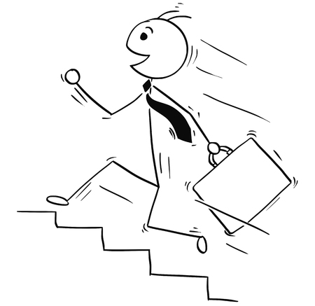 Cartoon stick man illustration of happy smiling business man running upstairs.