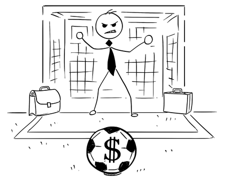 Conceptual cartoon vector illustration of stick man businessman as football soccer goal keeper goalie ready to catch the ball with dollar sign.