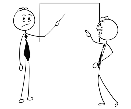 만화 스틱 남자 빈 사인 또는 보드 가리키는 두 번째 사업가 웃고 비즈니스 남자가 그림.