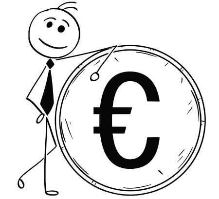 Cartoon stick man illustration of smiling Business man businessman leaning on large euro coin. Vettoriali