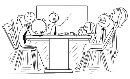 Cartoon stok man illustratie van de groep van mensen uit het bedrijfsleven moe en gek geworden gek op de ontmoeting met enthousiaste baas.