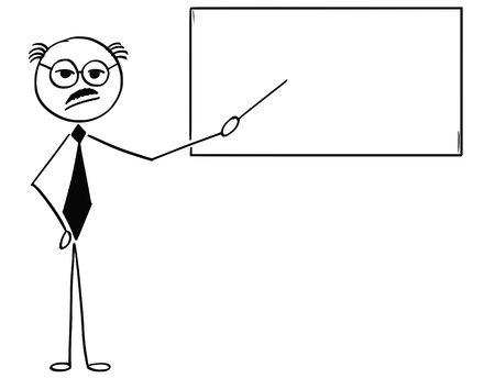 Cartoon stick man illustration of old bald and moustache business man businessman teacher professor pointing at empty sign or board.