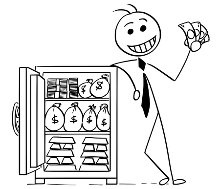 Cartoon stick man illustration of smiling business man businessman posing with vault full of money and gold. 矢量图像