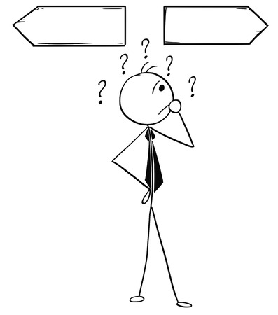 Cartoon stick man illustration of business man businessman doing decision on the crossroad with two arrows. Фото со стока - 85874270