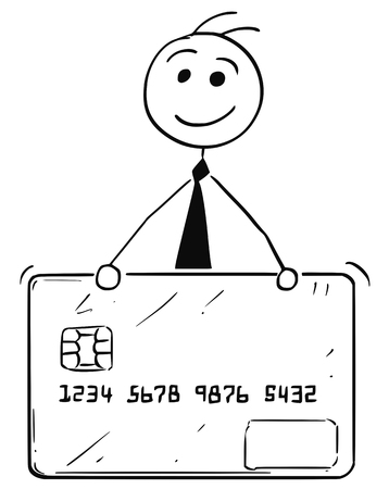 Cartoon stick man illustration of smiling business man businessman with credit or debit card.