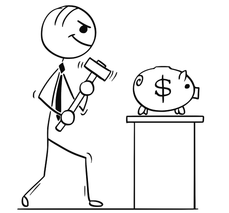 Cartoon stick man illustration of smiling business man or politician walking with hammer to break the piggy bank with dollar sign.