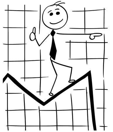 Cartoon stick man conceptual illustration of smiling business man businessman walking on graph chart line expecting great future and ignoring the near fall.