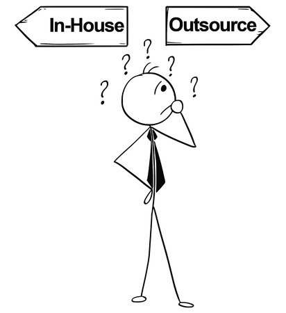 Cartoon stick man illustration of business man businessman doing decision on the crossroad with two arrows in-house and outsource.