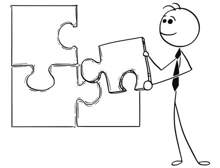 Cartoon stick man conceptual illustration of business man businessman holding last jigsaw puzzle piece as solving problem. Иллюстрация