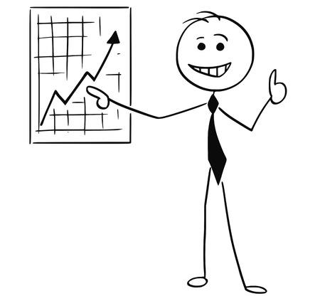 De stokmens van de beeldverhaalstok van glimlachende bedrijfsmensenzakenman die op grafiek en duim van de muurgrafiek de benadrukken.