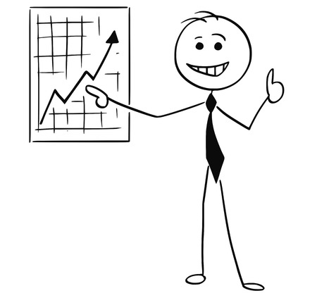 Cartoon stick man illustration of smiling business man businessman pointing at wall graph chart and thumb up.
