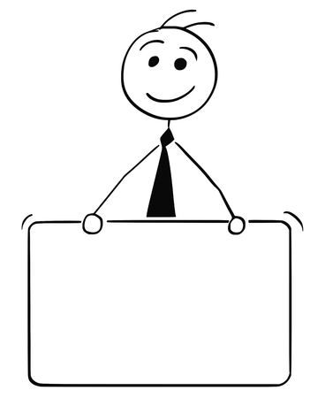 Cartoon stick man illustration of smiling business man businessman holding empty sign.