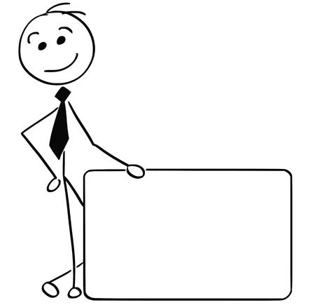 Cartoon stick man illustration of smiling business man businessman holding empty sign.