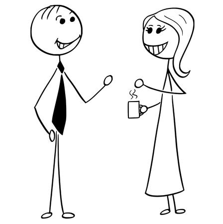 通話やチャットにペア ビジネス人男と女の漫画スティック男のイラスト。