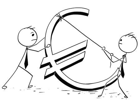 Cartoon stick man concept illustration of two business men businessman erecting large euro sign.