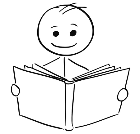 Cartoon stick man illustration of smiling boy or man reading a book. Illustration