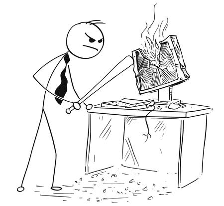 Cartoon stick man illustratie van boze zakenman vernietigende spatten computer met honkbalknuppel.