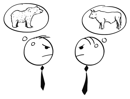 Cartoon stick man illustration of two businessman arguing about bull and bearish market.