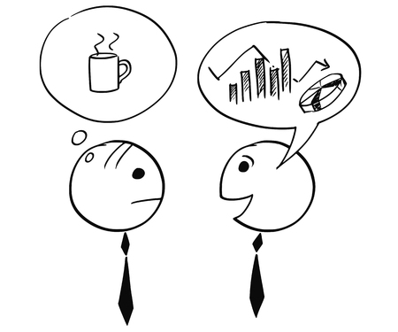 Cartoon stick man illustration of two businessman, one talking about chart and graph, second thinking about coffee break.