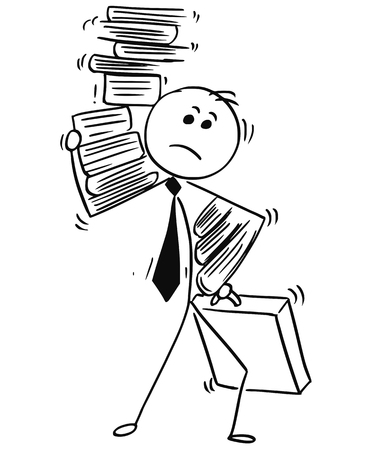 Cartoon stick man illustration of businessman carry large amount of paper work folders.