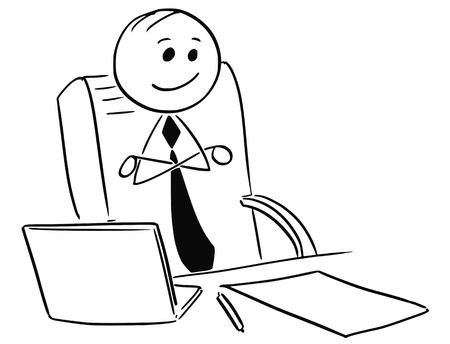 Cartoon stick man illustration of  happy satisfied contented businessman or boss or manager sitting in office with arms crossed.