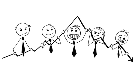 Cartoon stick man illustration of Group of businessmen businessman holding graph chart and showing emotions.