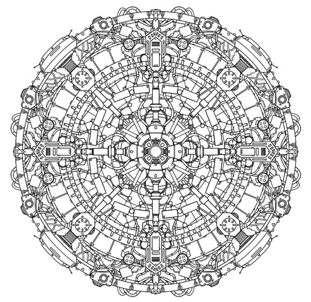 space station: Round Ornamental Techno Sci-fi Mandala Pattern.