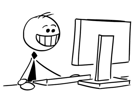 Cartoon stick man illustration of happy businessman smiling working on office desktop computer.