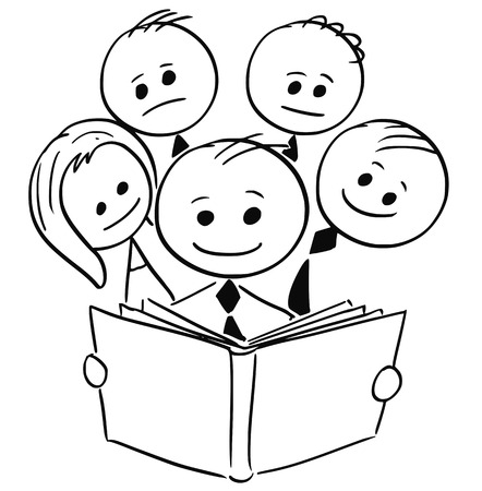 Cartoon stick man illustration of smiling businessman reading book and four other business people behind him.