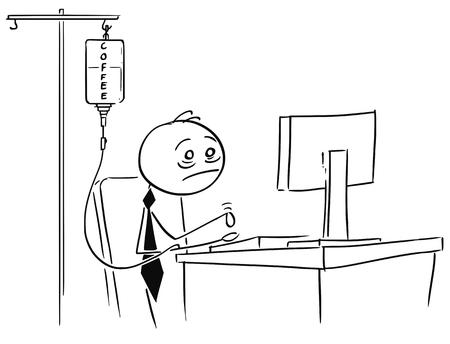 Karikaturstock-Mannillustration des müden überarbeiteten Geschäftsmannes, der an Computer mit Kaffeeinfusion in seinem Arm arbeitet. Vektorgrafik