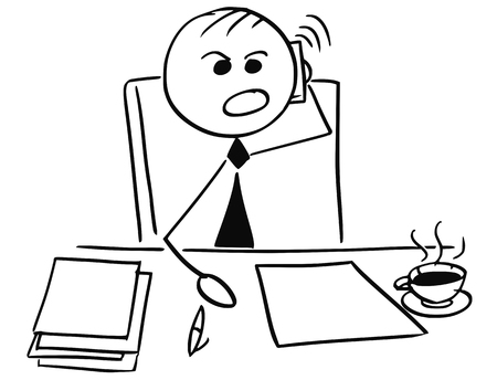 Cartoon stick man illustration of angry businessman manager boss using mobile phone to call. Illustration