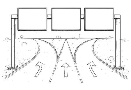un dessin animé de vecteur de dessin vide vide panneau de signalisation sur trois lignes de trapèze