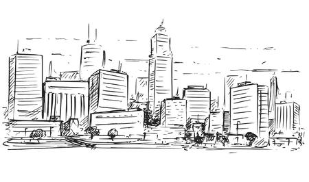 Eine flüchtige Zeichnung der Vektorkarikatur der hohen Stadtstadtlandschaft der Stadt mit Wolkenkratzergebäuden.
