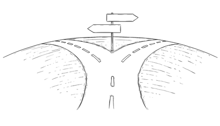 A Vector drawing of fork in the road with empty blank decision arrow signs.