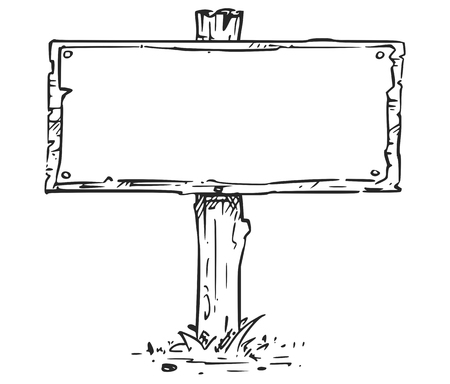 A Vector drawing of empty blank wooden sign board Illustration
