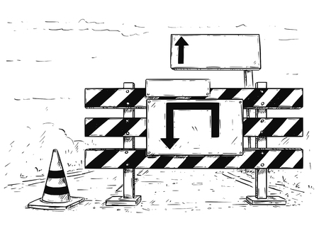 A Vector cartoon drawing of road traffic block stop detour with empty blank sign boards.