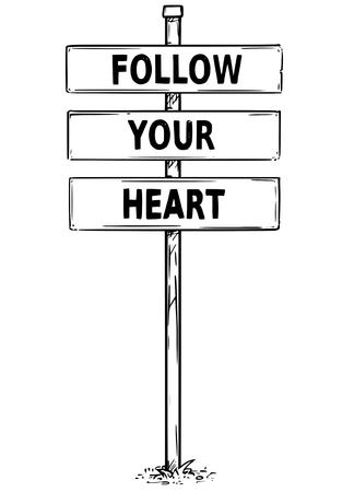 벡터 드로잉 사인 보드의 심장 비즈니스 텍스트를 따르십시오. 일러스트
