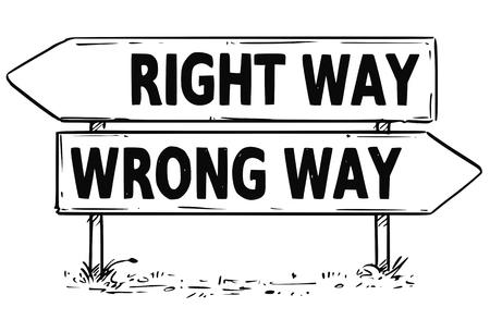 Vecteur, dessin du signe de flèche de trafic décision bonne ou mauvaise manière d'affaires.