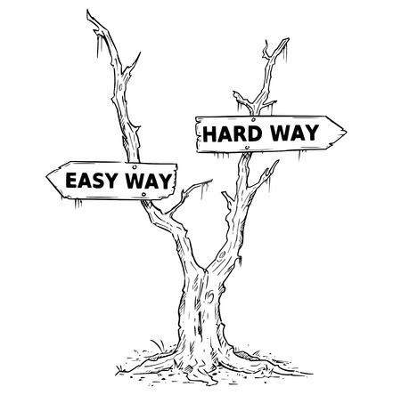 Vector drawing of dead swamp or desert tree with easy or hard way business decision arrow signs.