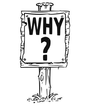 Vectortekening van houten tekenraad met vraagteken en bedrijfstekst waarom. Stock Illustratie
