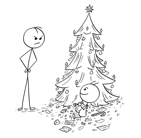 Cartoon stick man drawing, illustration of baby eat up all sweet candy from the Christmas tree without parent permission, father looking at him or her. Ilustrace