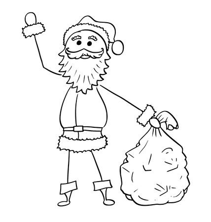 クリスマスサンタクロースの贈り物の袋を保持し、彼の手を振って漫画描画イラスト。