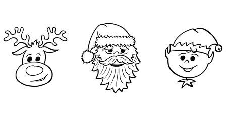 Cartoon drawing illustration set of Christmas Santa Claus, elf and Rudolf the reindeer portraits heads. Illusztráció