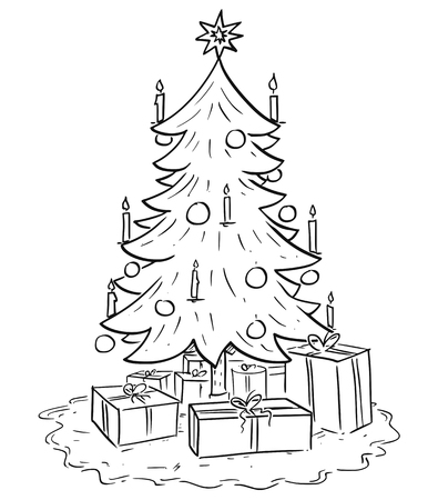 Cartoon drawing illustration of Christmas spruce or fir tree with gifts or presents around.