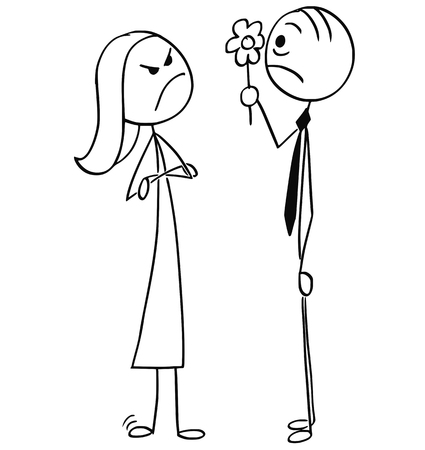 Surprised man and angry woman on date
