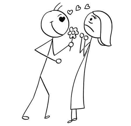Cartoon stick man drawing  of a woman resisting the love confession Illustration