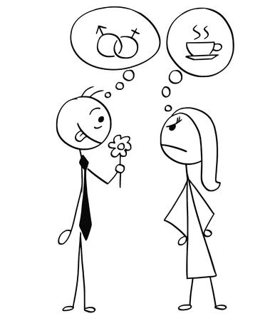 Cartoon stick man and woman drawing Illustration