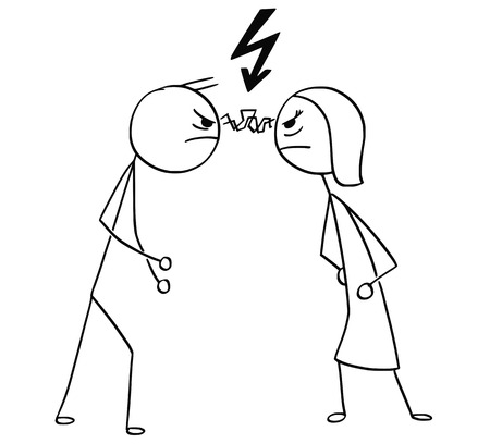 Cartoon stick man and woman angry with each other Ilustração